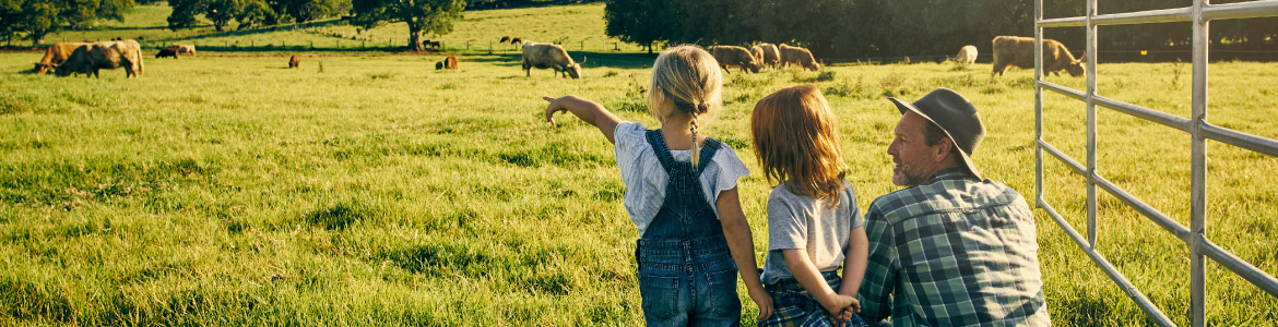 Dad and two girls in Agriculture Field with cows